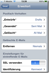 iPhone Einstellungen f. GMail